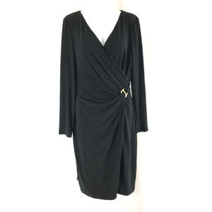 Ralph Lauren Faux Wrap Dress Gathered Long Sleeve